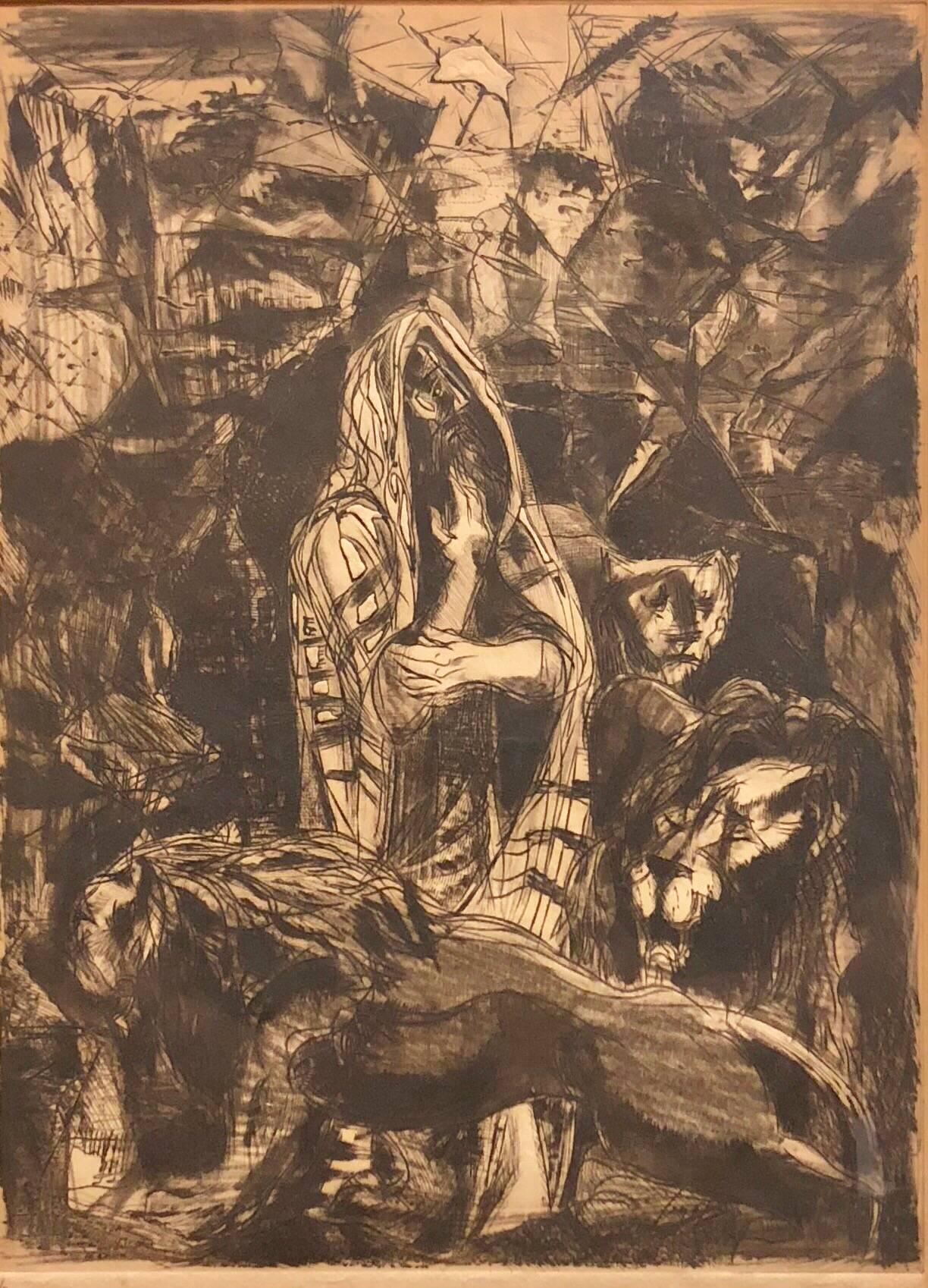 Modernist Daniel in Lions Den Biblical Judaica Etching Israeli Artist