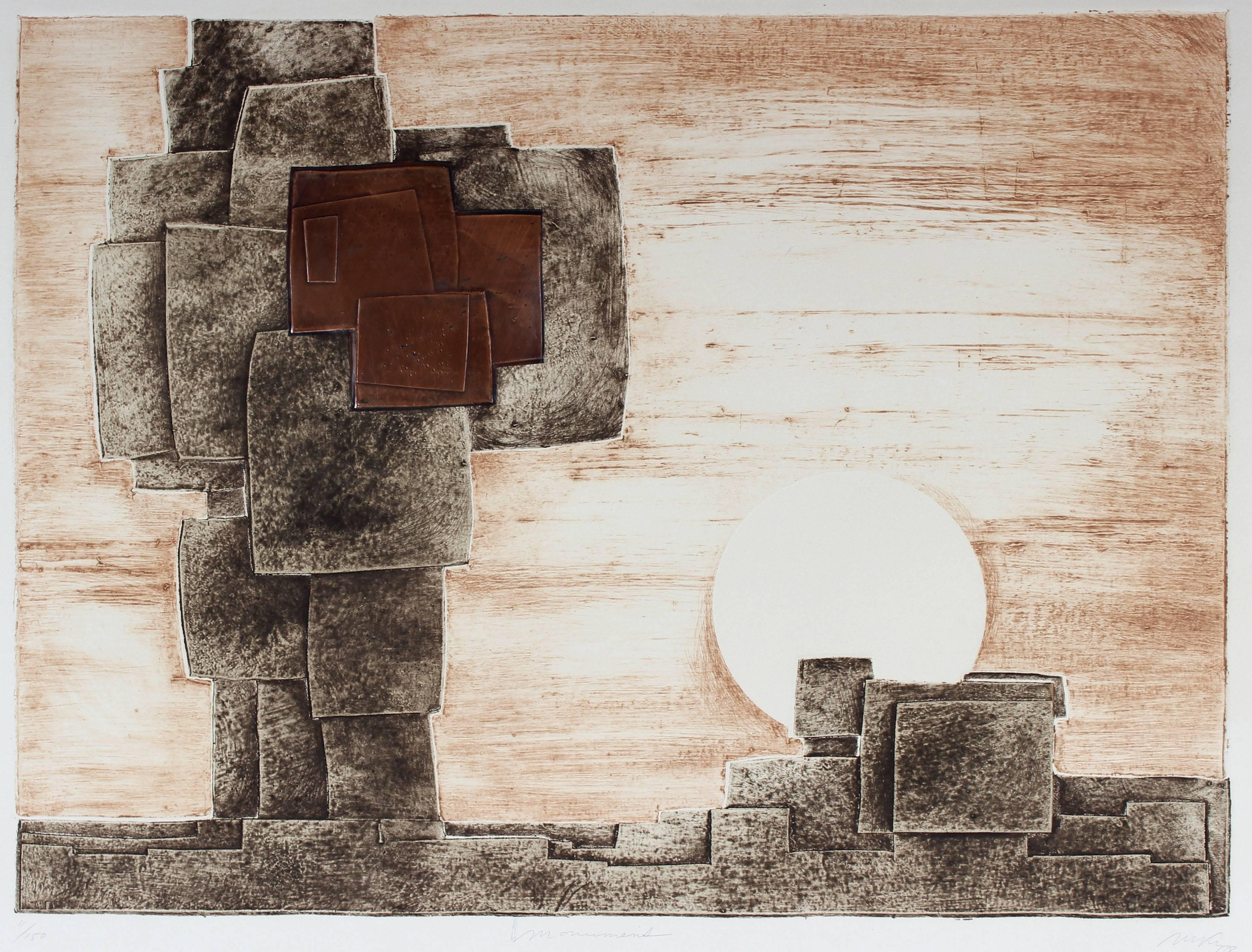 """""""Monuments"""" Abstracted Geometric Landscape in Copper, Mixed Media Print"""