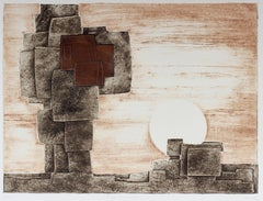"""Monuments"" Abstracted Geometric Landscape in Copper, Mixed Media Print"