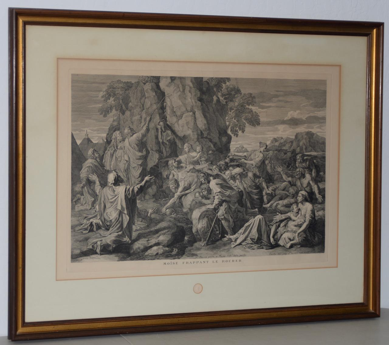"""""""Moses Strikes the Rock"""" Louvre Museum Etching Late 19th Century"""