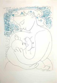 Mother and Child-Original Lithograph on Laid Paper by Pablo Picasso - 1963