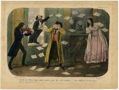 Musical winterseason in Paris - satire - Lithograph - 19th Century