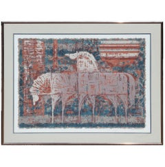 """Mustangs"" Cubist Style Lithograph Edition 55 of 300"