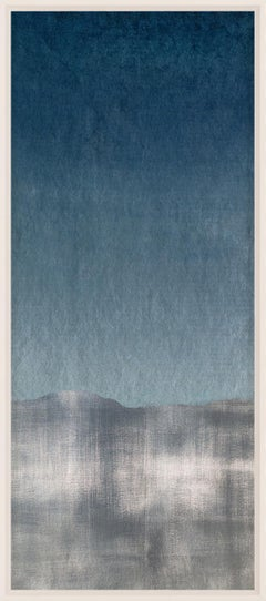 Navy and Silver Wave No. 1, silver leaf, framed