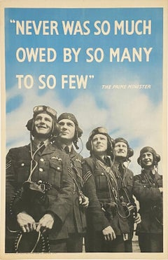 """Never was so much owed by so many to so few"" Churchill WWII Aviation Poster"