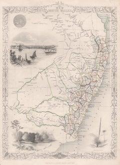 New South Wales, Australia, antique mid 19th century engraved John Tallis map