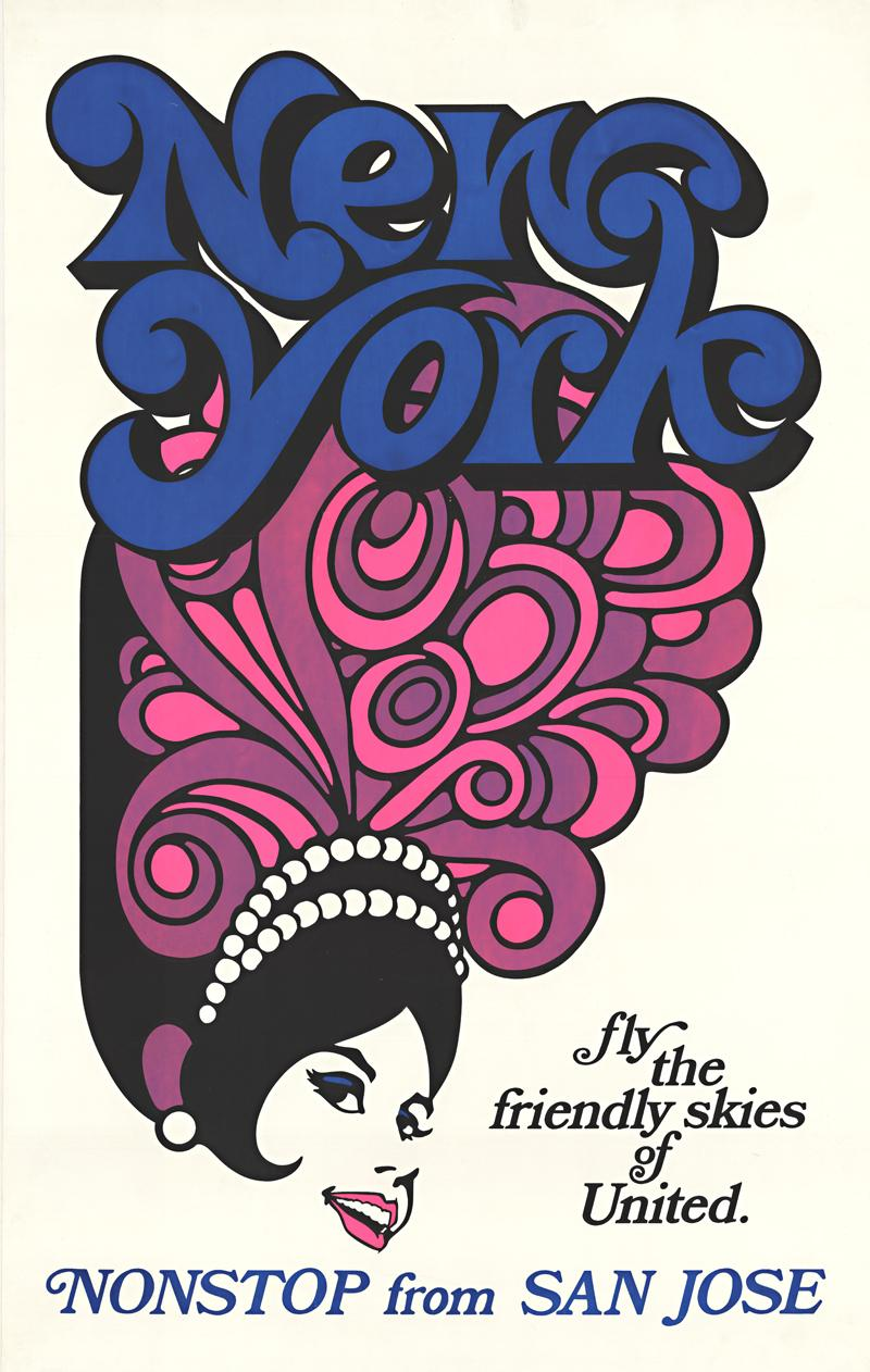 New York United Air Lines original vintage travel poster
