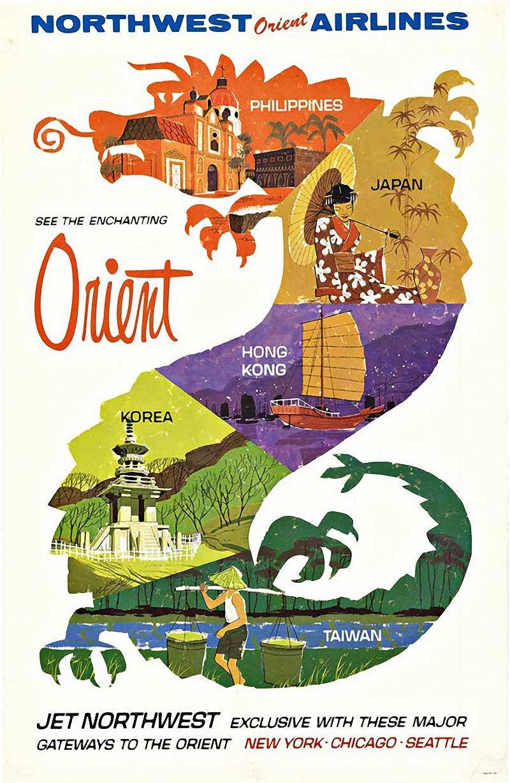 Northwest Orient Airlines see the enchanting Orient original vintage travel post