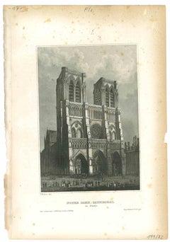 Notre Dame - Original Lithograph - Mid-19th Century