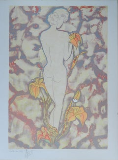 Nude Amongst Flowers Lithograph Signed by Artist c1987