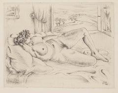 Nude Lying Down - Original Etching - 1945