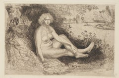 Nude Woman - Original Etching - 1940
