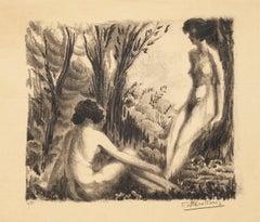 Nudes in Nature - Original Lithographg - Mid 20th Century