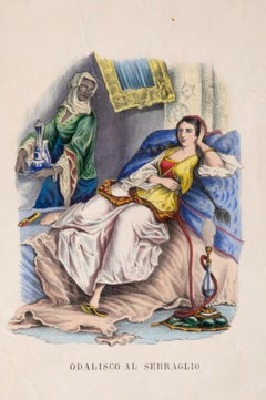 Odalisque at the menagerie - Original Watercolor Lithograph - 1848 ca.