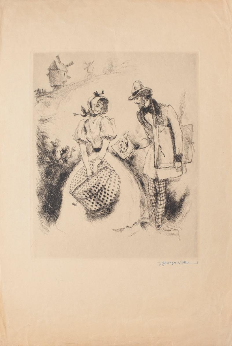 Offering - Original Etching on Paper by Georges Villa - 1940 ca.