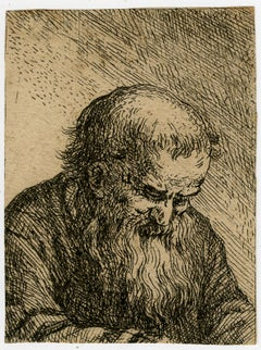 Old bearded man looking down - Etching - 17th Century