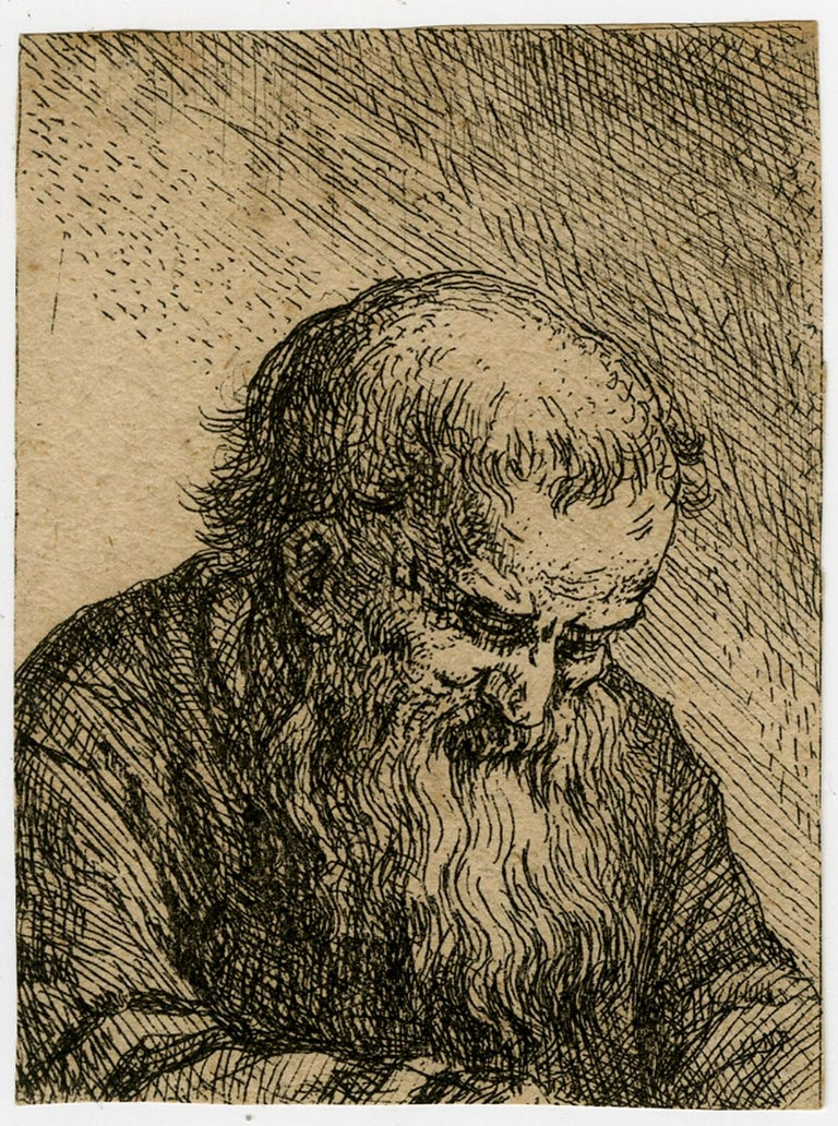 Unknown Print - Old bearded man looking down - Etching - 17th Century