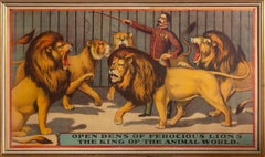 Open Dens of Ferocious Lions, King of the Animal World, Vintage Circus Poster