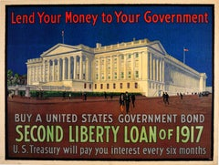 Original 1917 World War One Poster 2nd Liberty Loan US Treasury Government Bond