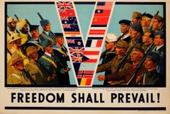 Original 1940s World War Two Poster Freedom Shall Prevail Allies Victory V Flags