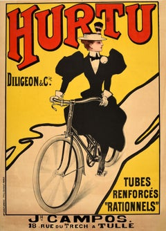 Original Antique Advertising Poster For Hurtu Bicycles Diligeon Et Cie Tubes