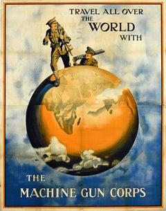 Original Antique British Army Machine Gun Corps Recruitment Poster Travel World
