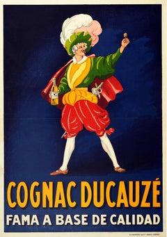 Original Antique Drink Poster Cognac Ducauze Fama A Base De Calidad Fame Quality