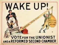 Original Antique Election Poster Wake Up Vote Unionist Conservative John Bull