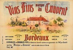 Original Antique French Bordeaux Wine Poster Vins Fins Marque Du Convent France