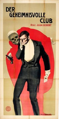 Original Antique Movie Poster Der Geheimnisvolle Club Delmont R L Stevenson Book