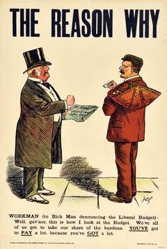 Original Antique Political Poster Liberals Budget Tax Reason Why Worker Rich Man