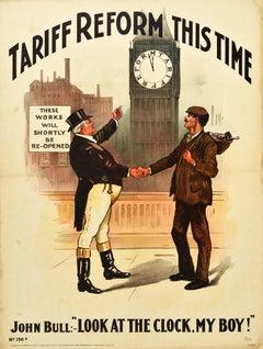 Original Antique Political Poster Tariff Reform This Time Clock John Bull Design