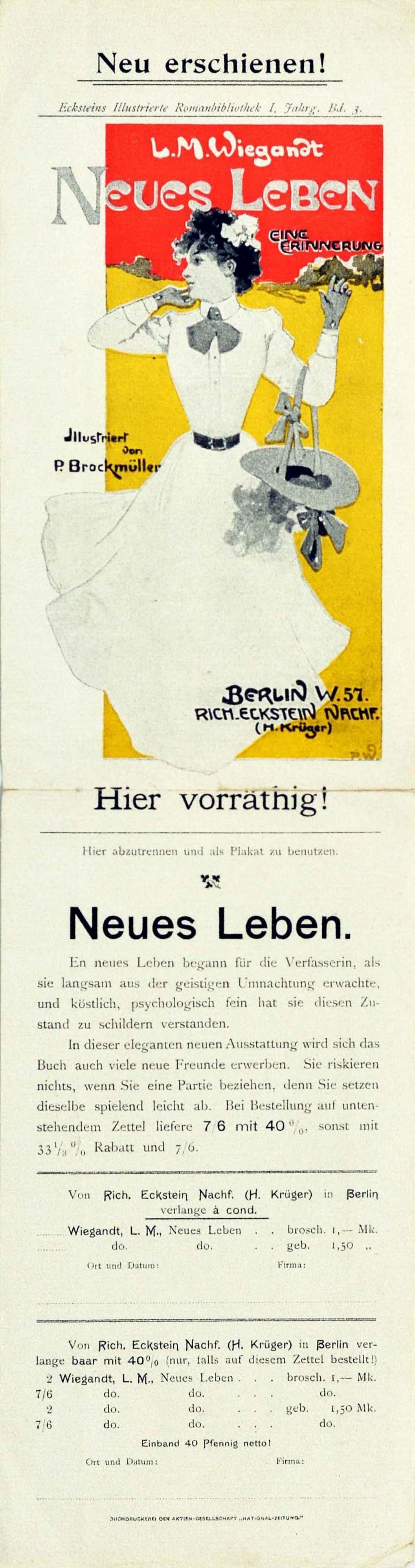 Original Antique Poster Neues Leben New Life A Memory Illustrated Novel Book Ad