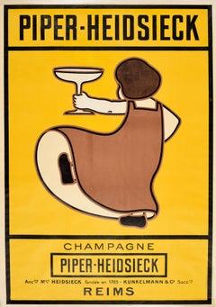 Original Antique Poster Piper Heidsieck Champagne Reims Wine Drink Art France