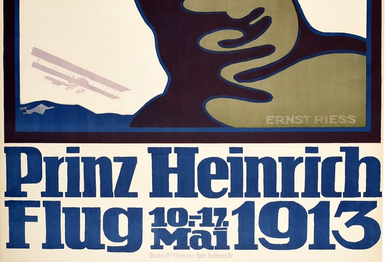Original Antique Poster Prince Heinrich Flug 1913 Flight Race Early Aviation Art - Beige Print by Unknown