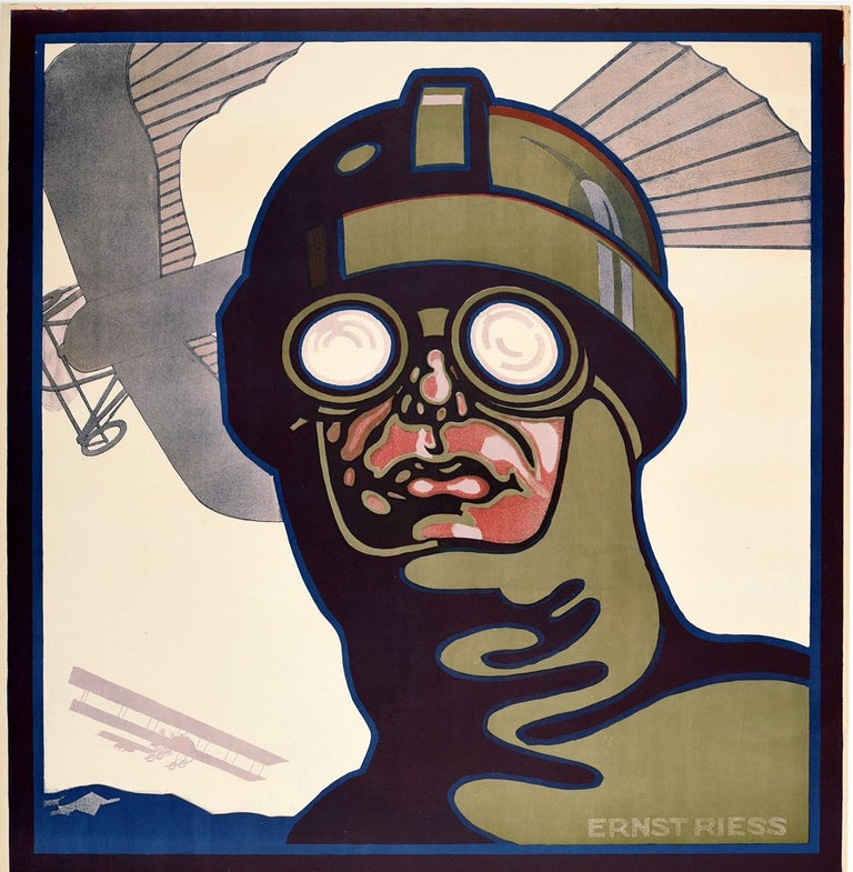 Rare original antique poster for the Prinz Heinrich Flug 10.-17. Mai 1913 / Prince Heinrich Flight Race 10-17 May 1913 featuring a great design by Ernst Reiss (1884-1962) showing a pilot in aviation goggles looking out to the viewer with an early