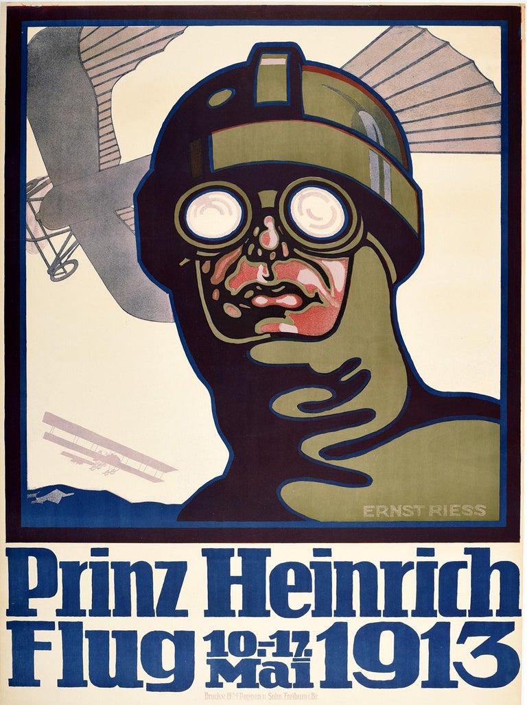 Unknown Print - Original Antique Poster Prince Heinrich Flug 1913 Flight Race Early Aviation Art