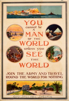 Original Antique Recruitment Poster Join The Army And Travel Round The World