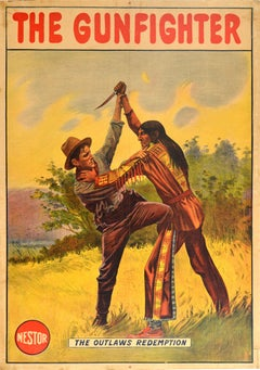 Original Antique Wild Western Film Poster The Gunfighter The Outlaws Redemption