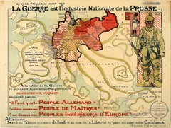 Original Antique WWI Poster Map War Is The National Industry Of Prussia Octopus