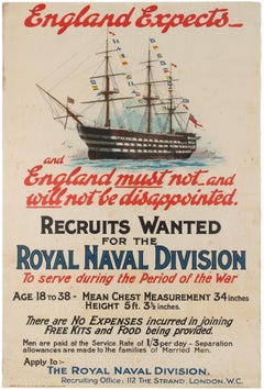 Original Antique WWI Royal Navy Recruitment Poster England Expects HMS Victory