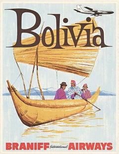 Original Bolivia Braniff International Airways vintage travel poster