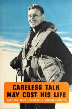 Original British WWII Poster - Careless Talk May Cost His Life - Royal Air Force