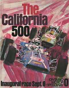 Original California 500 Ontario Motor Speedway vintage car racing poster