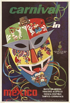Original Carnival in Mexico vintage travel linen backed poster