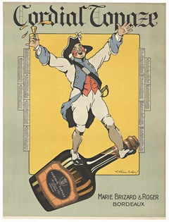 Original Cordial Topaze, original 1924 lithograph linen backed vintage poster