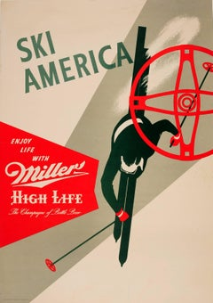 Original Drink Poster Ski America Enjoy Life Miller The Champagne Of Bottle Beer