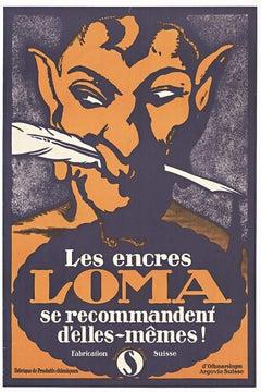 Original Les Encres Loma vintage Swiss advertising poster, ink