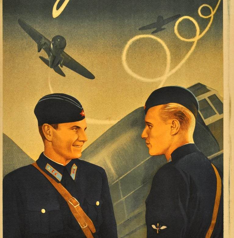 Original Rare Movie Poster for a Film about the Soviet Air Force Fighter Pilots - Brown Print by Unknown