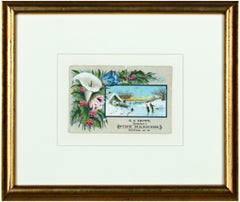 Original Victorian card with flower arrangement and ice skating scene